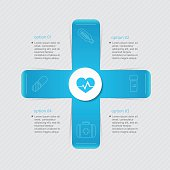 Medical infographic healthcare concept with four options, parts,