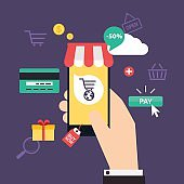 Concept online shopping and e-commerce. Icons for mobile marketi