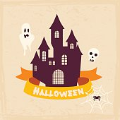Halloween Badges and Labels in Vintage style. Vector illustratio