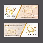 Gift voucher template with gold pattern, Gift certificate. Backg