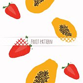 Hand drawn strawberries and papaya. Seamless pattern.