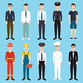 Set of colorful profession man flat style icons: businessman, do