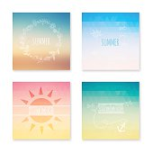 Cards collection of summer colored abstract background. Vector i