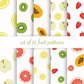 Set of seamless fruit patterns