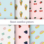 Set of sweet patterns. Collection of seamless backgrounds with i