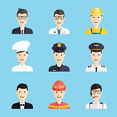 Set of colorful profession man flat style icons.
