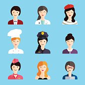 Set of colorful profession woman flat style icons: businessman,