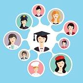 Graduation famale student make career choices: businessman, doct