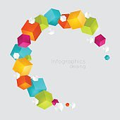 Abstract color cubes vector background.