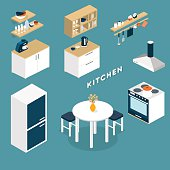 Vector isometric kitchen interior objects - 3D illustration