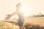 Joyful woman in the countryside