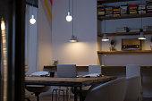 Empty office at night