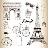 Paris icon set. Hand Drawn Illustration. Vector vintage background.
