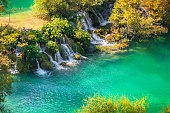 Colorful autumn morning in the Plitvice Lakes National Park