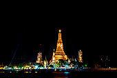 The night at Bangkok Thailand: Wat Arun Temple