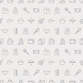 Kitchen line icon pattern set