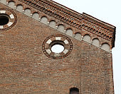 detail of the old church in a city of Italy