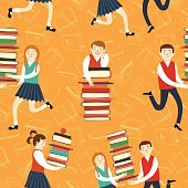 Cute boys and girls with books