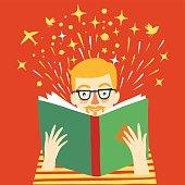 boy reading a book cartoon illustration