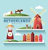 Netherlands and Amsterdam, windmill ,Destination ,vector set
