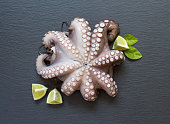 Raw octopus with lime and basil