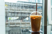 Coffee in rainy day