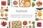 various superfood on white background