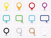 Map pointer icons. Color set