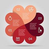 Modern heart infographics options banner.