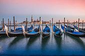 Gondolas in Venice, San Giorgio di Maggiore church, Italy