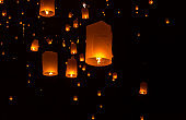 Floating Lantern on Yee Peng festival