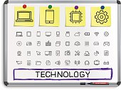 Technology hand drawing line icons.