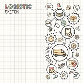 Logistic hand draw integrated vector sketch icons set on paper.