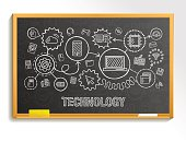 Technology hand draw integrate icons set on school board
