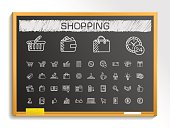 Shopping hand drawing sketch icons set. Vector doodle blackboard illustration