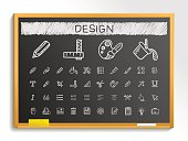 Design tools hand drawing sketch icons. Vector doodle blackboard illustration