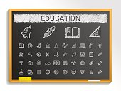 Education hand drawing sketch icons set. Vector doodle blackboard illustration