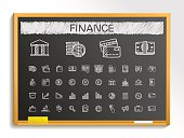 Finance hand drawing sketch icons set. Vector doodle blackboard illustration