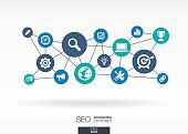 SEO network vector background Connected flat icons in digital illustration