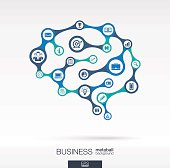 Brain metaball concept. Vector business background (circles, integrated flat icons)