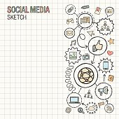 Social media hand draw integrated vector sketch icons illustration