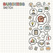 Business hand draw integrated vector sketch icons set on paper.