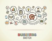 Business hand draw integrated doodle icons set. Vector sketch illustration.