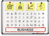 Business hand drawing line icons.
