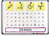 Design tools hand drawing line icons.