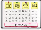 Finance hand drawing line icons.