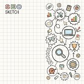 SEO hand draw integrated vector sketch icons set on paper.