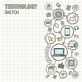 Technology hand draw integrated vector sketch icons set on paper.