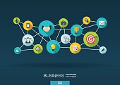Business network background with lines, circles, integrate flat icons illustration