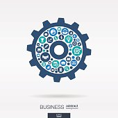 Business color icons in cogwheel shape abstract background: vector illustration.